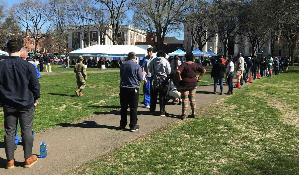 A FEMA mobile vaccination unit visited the New Haven Green in early April. The van will be coming to Middletown Monday and Tuesday.