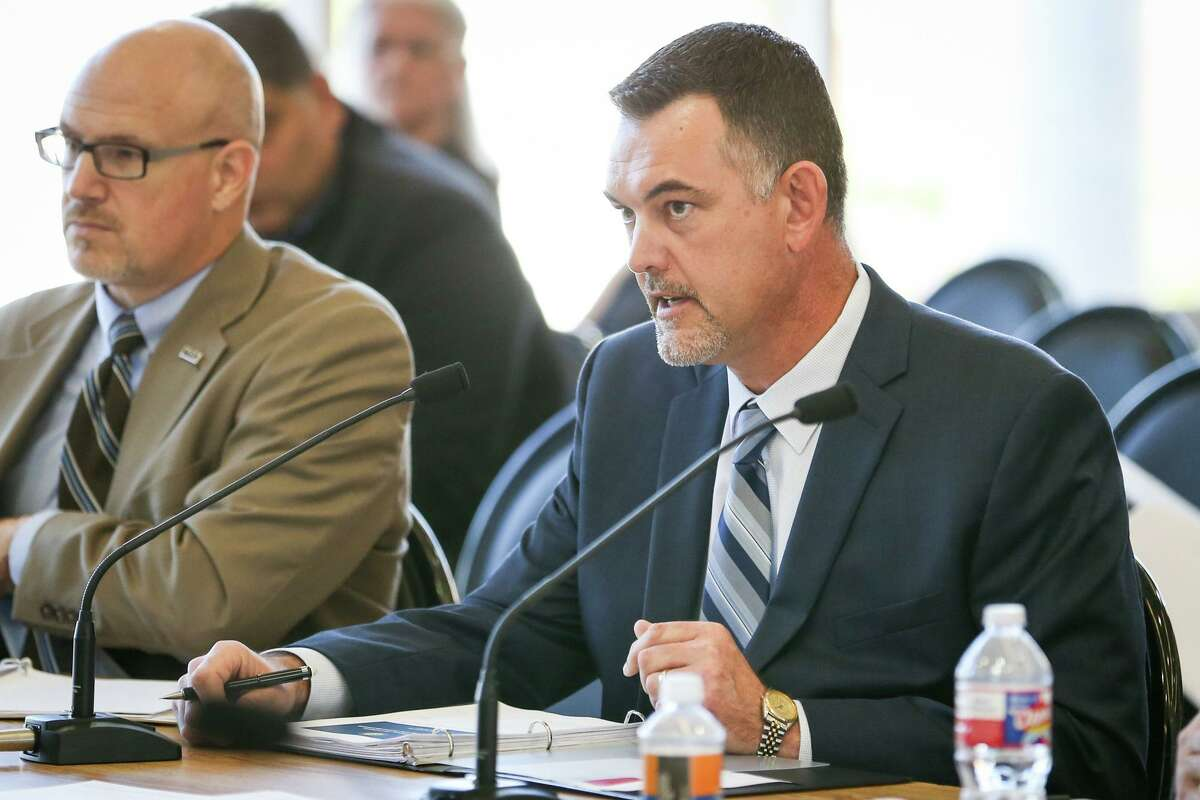 Jace Houston, general manager of the San Jacinto River Authority, speaks during the Texas Senate Committee on Agriculture, Water, and Rural Affairs interim hearing in 2017, at the East Montgomery County Improvement District in New Caney.
