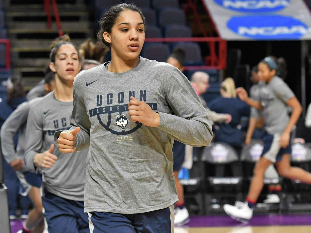 UConn's Gabby Williams and team mates warm up during their NCAA Women's Basketball regional practice at the Times Union Center Friday March 23, 2018 in Albany, NY. (John Carl D'Annibale/Times Union)