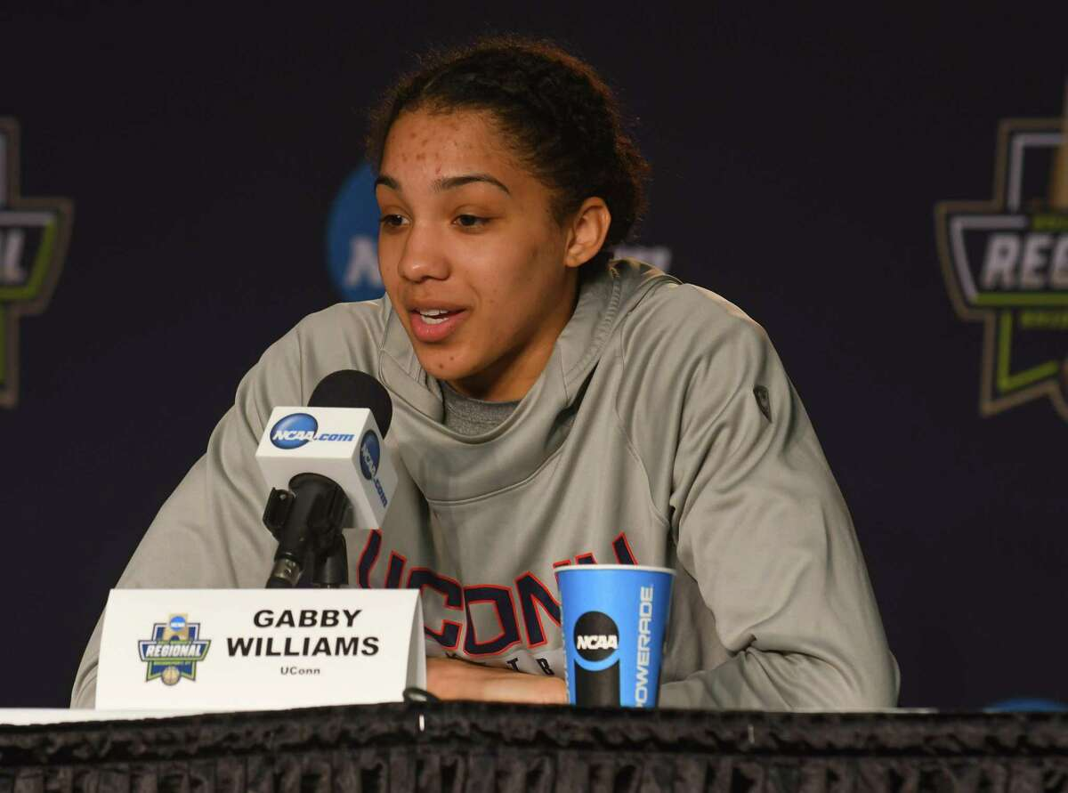 Gabby Williams of the Uconn Huskies, addresses the media during a press conference at Webster Bank Arena on March 24, 2017 in Bridgeport, Connecticut.