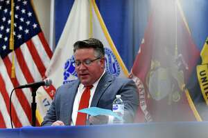 Albany County Executive Dan McCoy holds a coronavirus news briefing on Friday, May 7, 2021, at the county offices in Albany, N.Y.  (Will Waldron/Times Union)
