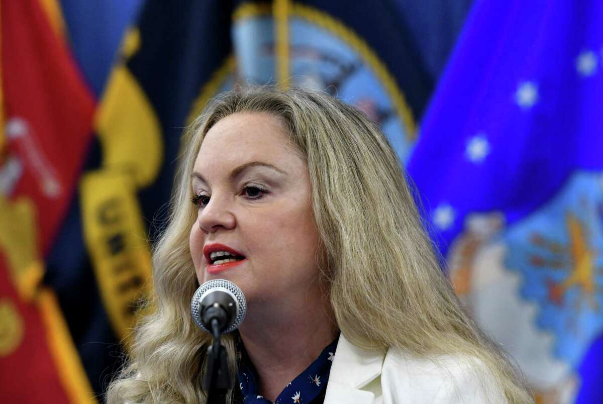 Albany County Department of Health Commissioner Dr. Elizabeth Whalen joins County Executive Dan McCoy for a coronavirus news briefing on Friday, May 7, 2021, at the county offices in Albany, N.Y. (Will Waldron/Times Union)