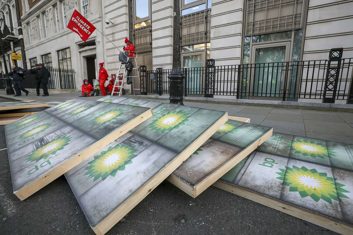 Placards lie on the ground during a protest by Greenpeace activists outside the BP Plc headquarters in London, U.K., on Wednesday, Feb. 5, 2020.
