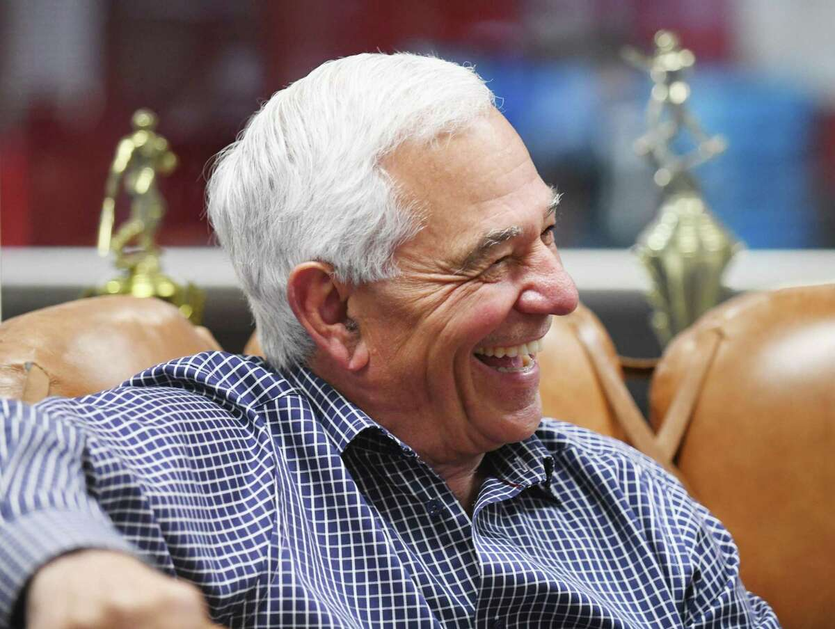 Bobby Valentine chats at Bobby Valentine's Sports Academy in Stamford, Conn. Wednesday, May 5, 2021. The renowned baseball player and manager announced that he is running for mayor of Stamford as an independent.