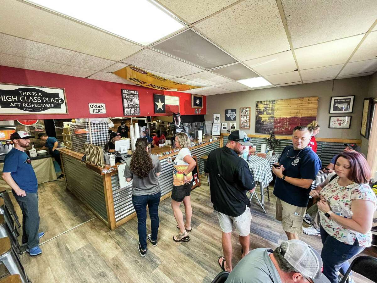 Customers waiting to order at Brett's BBQ Shop in Katy