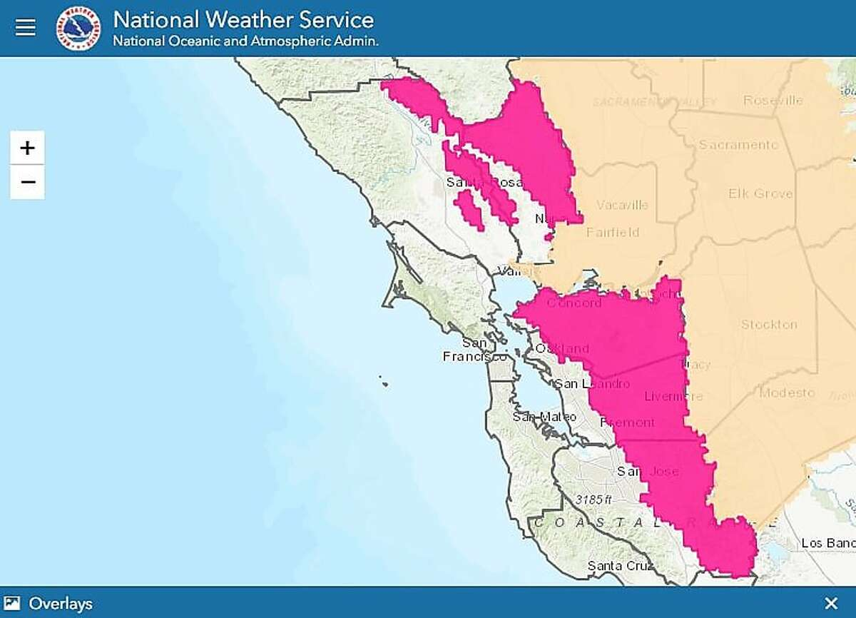 A National Weather Service map showing the regions impacted by this weekend's Red Flag Warning, indicating an elevated wildfire risk.