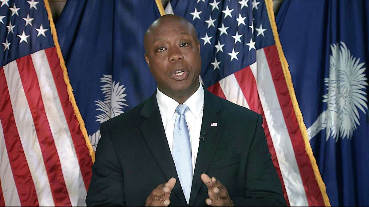Sen. Tim Scott, R-South Carolina, delivers the Republican response to President Joe Biden's speech to a joint session of Congress. A Democratic party official called Scott an