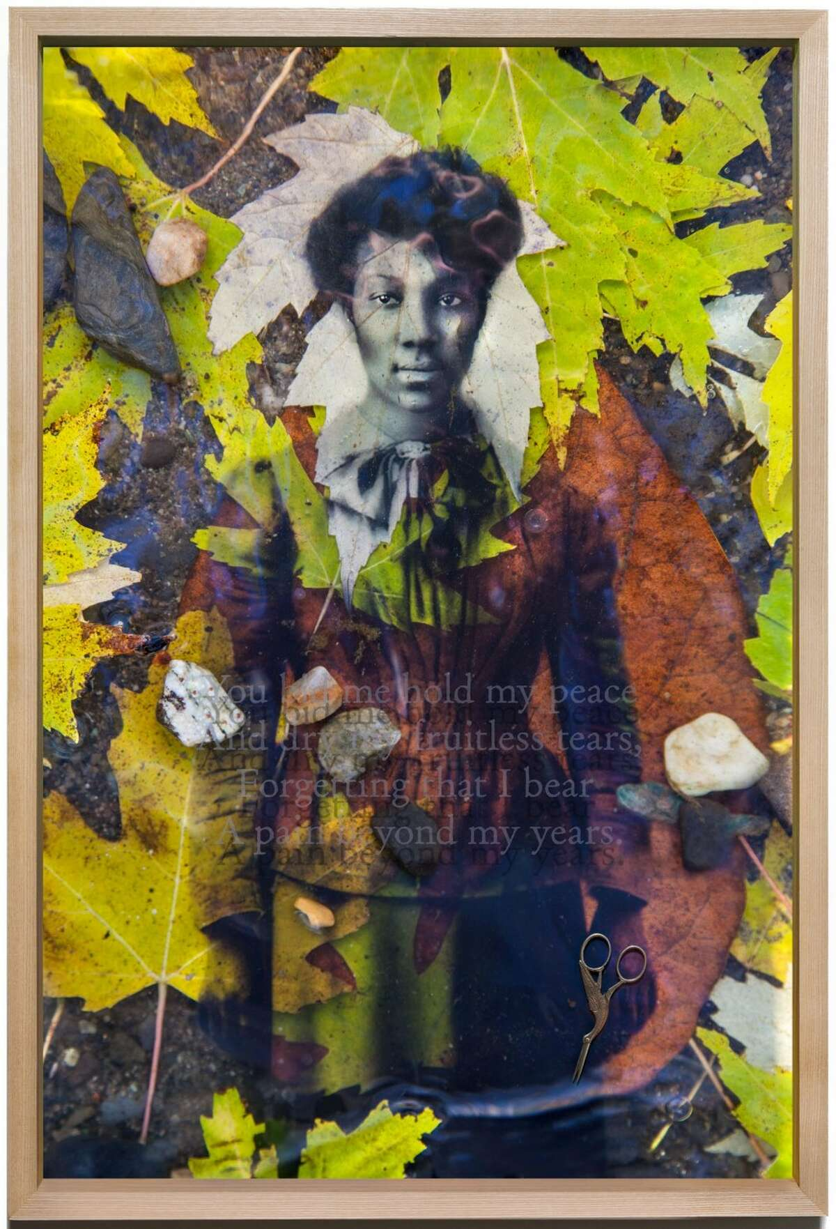 Daesha Devón Harris, You bid me hold my peace And dry my fruitless tears, Forgetting that I bear A pain beyond my years, from Just Beyond the River, a Folktale, 2016. (Albany Center Gallery)