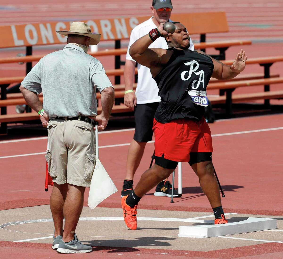 Trevonte Caines of Port Arthur Memorial competes in the boys shot put during the Class 5A UIL Track and Field Championships at Mike A. Myers Stadium, Friday, May 7, 2021, in Austin.