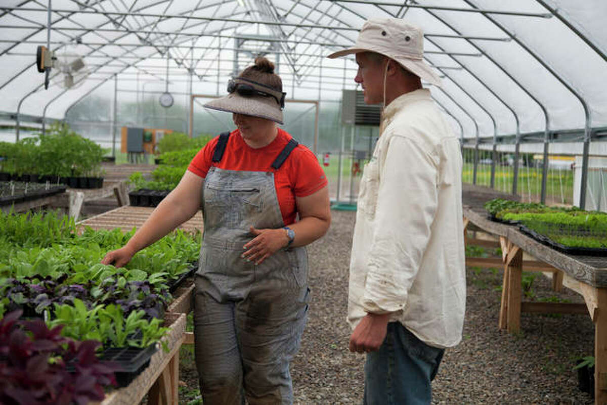 In this 2020 file photo, Rachel Deffenbaugh, left, and Kris Larson discuss plantings in the greenhouse at Theodora Farms. This spring Principia College students worked with the business, as well as two others, on sustainability.