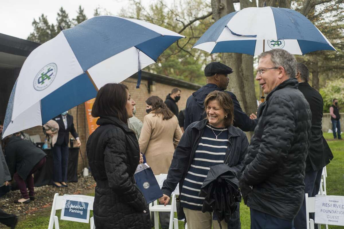 A groundbreaking ceremony is held for a new and improved Mall Walk through the main campus of Northwood University Thursday, May 6, 2021 at Northwood. (Katy Kildee/kkildee@mdn.net)