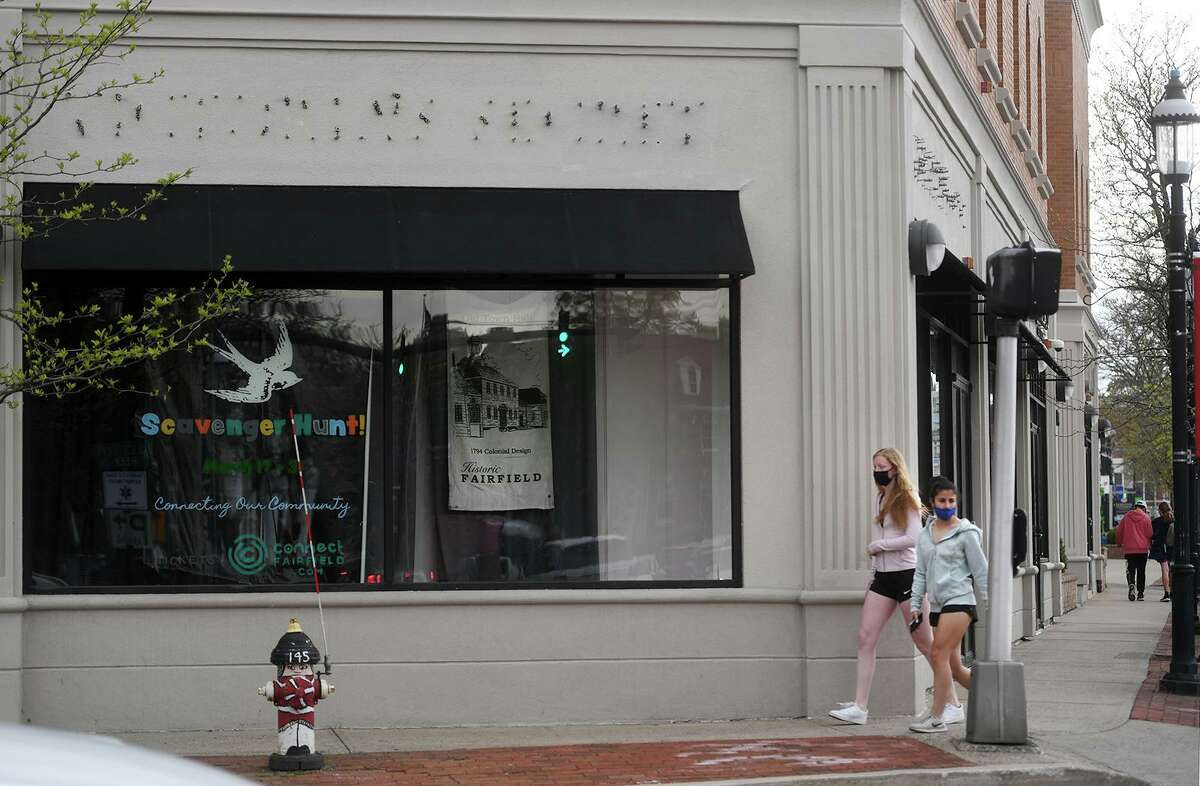 The vacant former Victoria's Secret retail location at the intersection of the Post Road and Reef Road in the heart of downtown Fairfield, Conn. on Sunday, May 2, 2021.