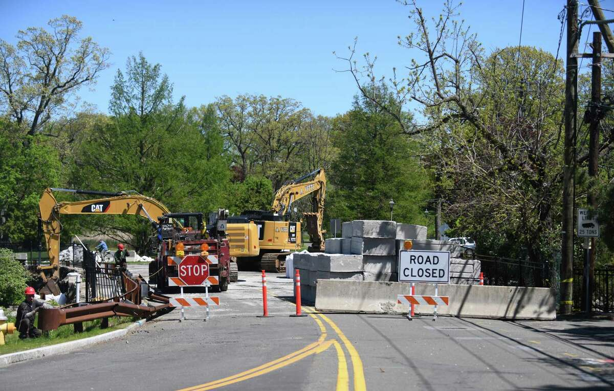 Work continues on the Davis Avenue Bridge at Bruce Park in Greenwich, Conn. Thursday, May 6, 2021. The road is closed while bridge construction is underway.