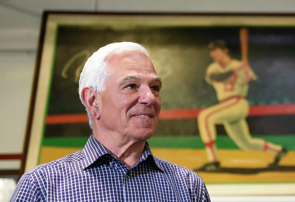 Bobby Valentine poses at Bobby Valentine's Sports Academy in Stamford, Conn. Wednesday, May 5, 2021. The renowned baseball player and manager announced that he is running for mayor of Stamford as an independent.