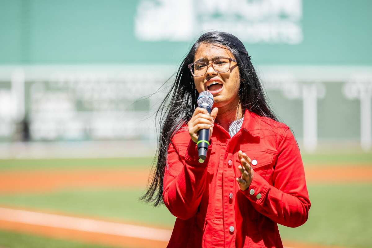 May 6, 2021, Boston, MA: Victoria Beniston performs the National Anthem before a Red Sox and Detroit Tigers game at Fenway Park in Boston, Massachusetts Thursday, May 6, 2021. (Photo by Nick Grace/Boston Red Sox)