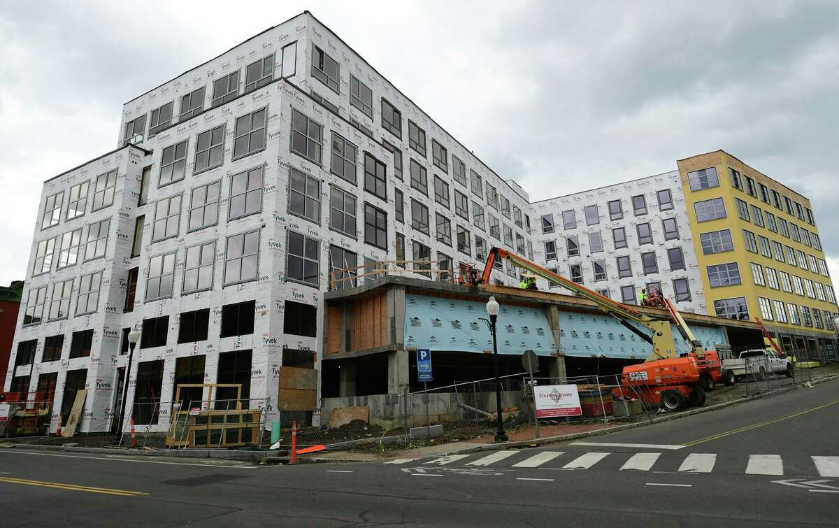 The Platform at 1 Chestnut Street Friday, April 16, 2021, is currently under construction in Norwalk, Conn. The two-building development will feature 122 units, including 11 workforce housing units.