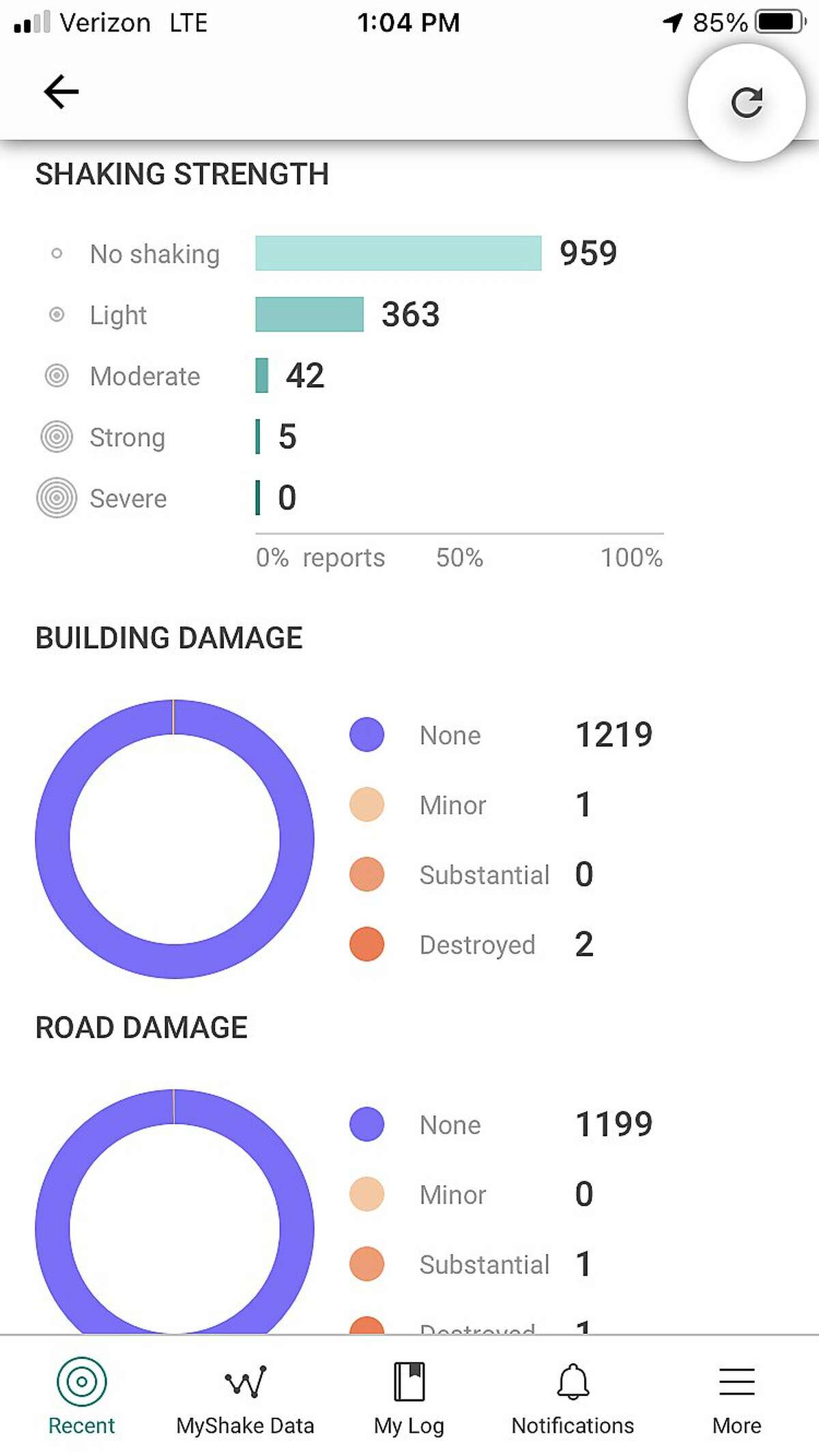 Pictured are some of the data points captured by the Shake Alert phone app following an earthquake incident list, as it appears on the Shake Alert phone app. The app alert triggered Thursday, May 6, 2021 when a 4.7 magnitude quake shook the area near Truckee, Calif., shortly after 9:30 p.m.