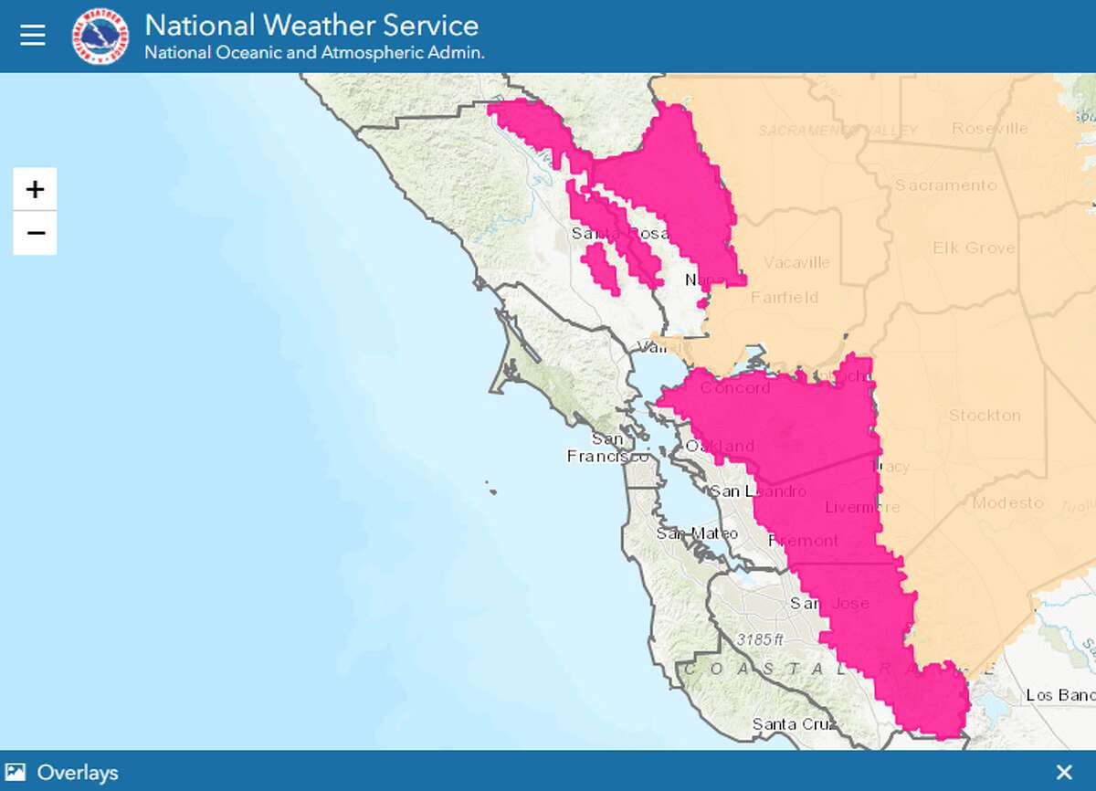 The National Weather Service issued a red flag warning for the North Bay and East Bay hills as well as East Bay interior valleys 11 p.m. Friday night through 6 a.m. Monday.