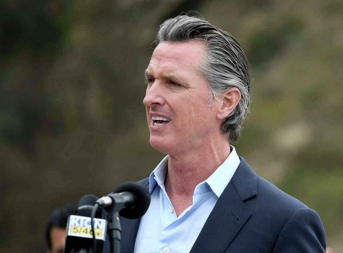 California Gov. Gavin Newsom speaks during a press conference April 23, 2021, in Big Sur, Calif.