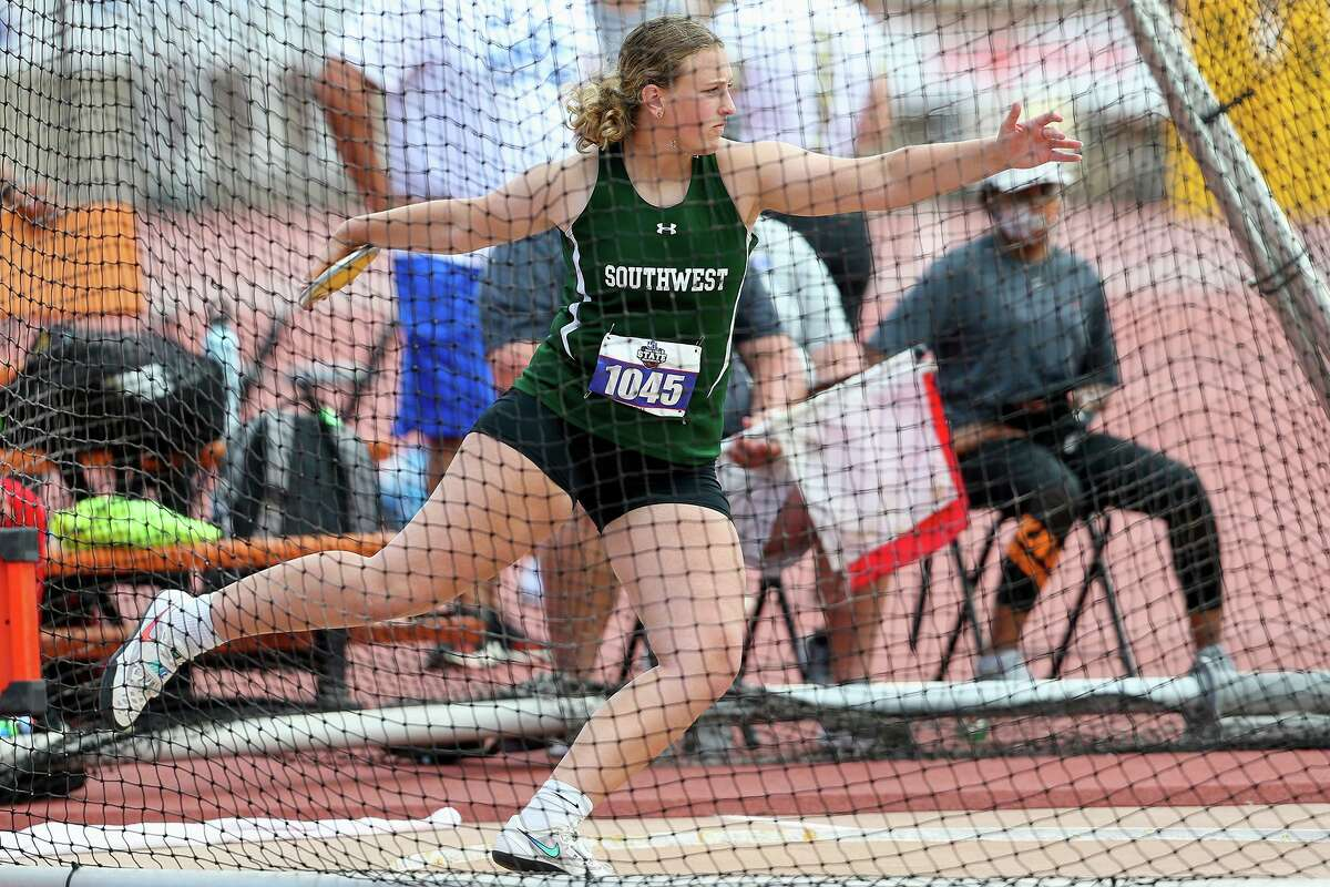 Southwest's Madeleine Fey throws in the 5A girls discus throw during the UIL state track and field championships at Mike A. Myers Stadium in Austin on Friday, May 7, 2021. Fey won the event with a toss of 144-7.