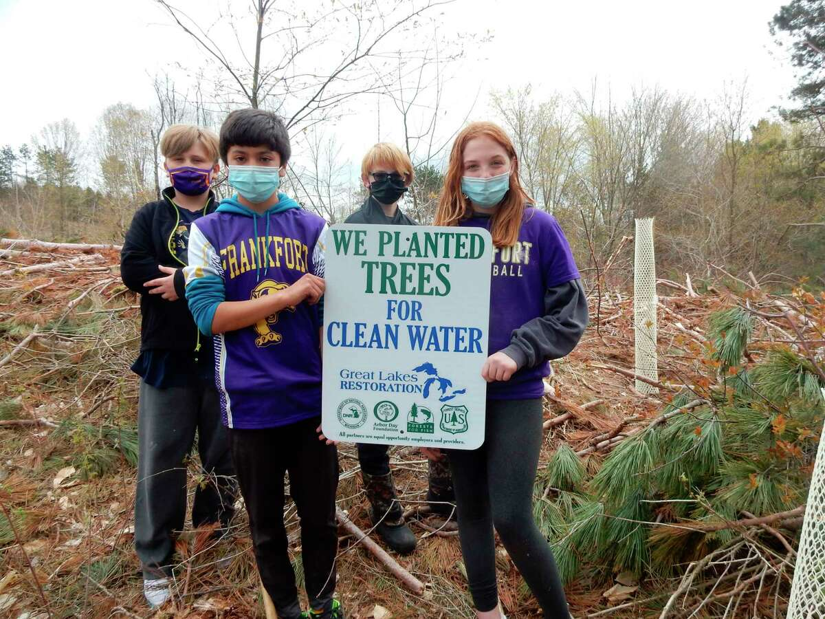Students from Frankfort-Elberta Area Schools planted trees on about 20 acres of school forest land in April. The school district is one of 10 schools working with theU.S. Forest Service and Arbor Day Foundation to restore school forests. (Courtesy Photo)