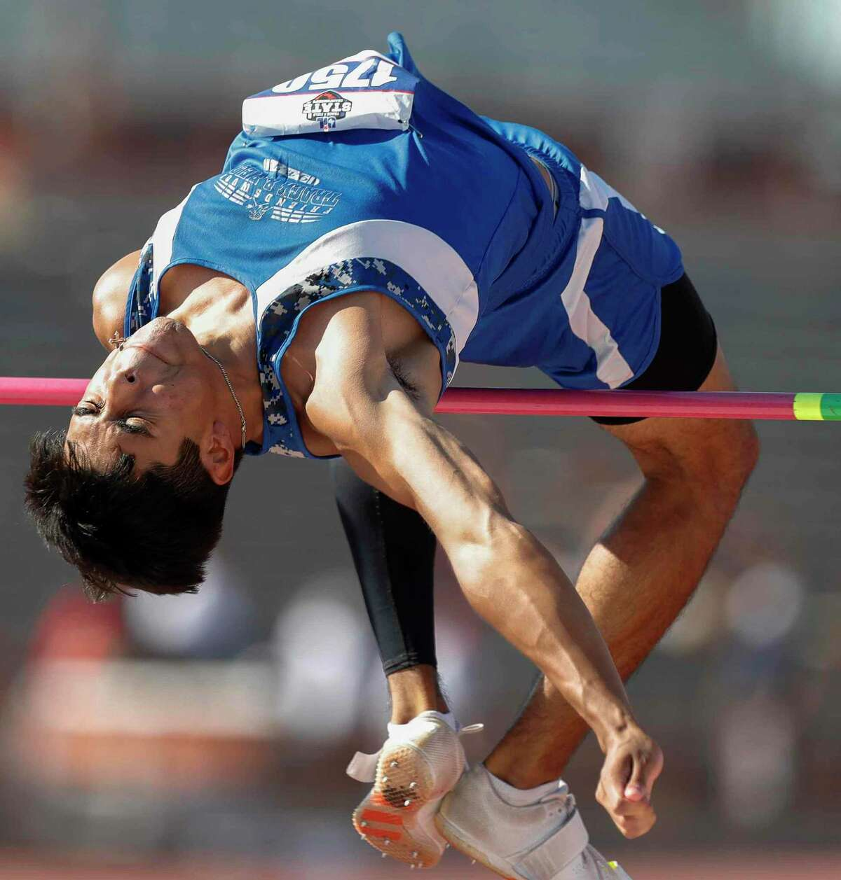 Patrick Elizondo of Friendswood competes in the boys' high jump during the Class 5A UIL Track and Field Championships at Mike A. Myers Stadium, Friday in Austin.