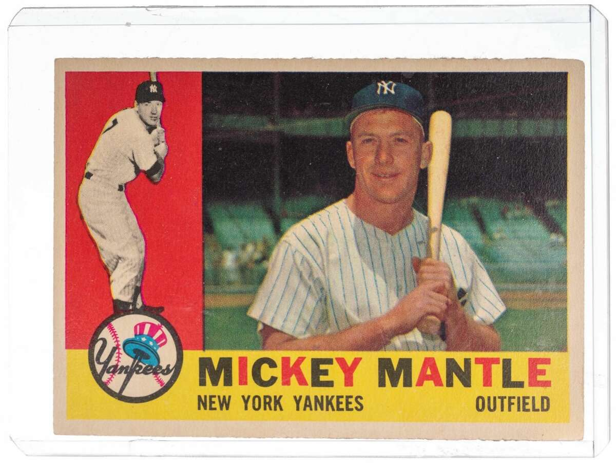 A Mickey Mantle baseball card Batter up! At least that's what I think they say in baseball...While this is no slab of furniture, it is a highly valuable treasure from the mid 20th century. Collectors would covet this 1960 commemorative token of MLB hall of famer.