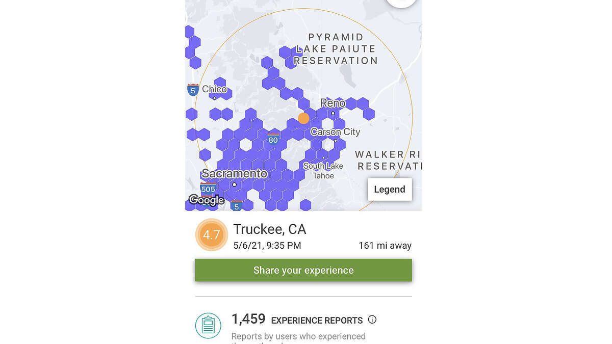 Pictured are some of the data points captured by the Shake Alert phone app followig an earthquake incident list, as it appears on the Shake Alert phone app. The app alert triggered Thursday, May 6, 2021 when a 4.7 magnitude quake shook the area near Truckee, California shortly after 9:30 p.m. The app is designed to give users a 10-second warning of an impending earthquake so they can essentially take protective cover.