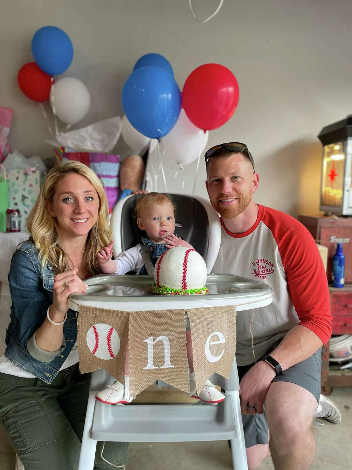 Layla, born to Katie Clunan and her husband on April 20 at Danbury Hospital, celebrates her first birthday at home in Newtown.