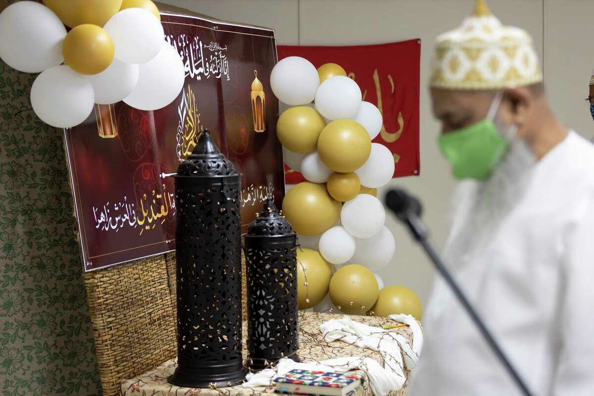 Décor in recognition of Ramadan is seen as members of the Dawoodi Bohra community come to pray, Friday, May 7, 2021, in the Woodlands. The community plan to begin construction on a 10,000-square-foot permanent facility this year.