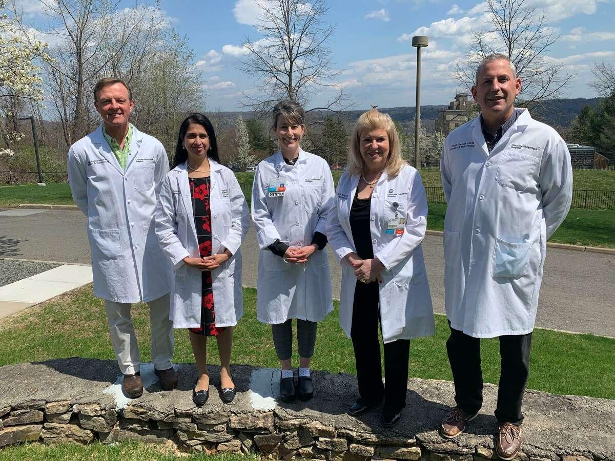 The team at Charlotte Hungerford Hospital Diabetes and Endocrinology includes (LtoR) Egils Bogdanovics, MD, Deepti Rawal, MD, Bonnie Blethen, RD, Lois Pelletier, RN, CDCES, and David Ohotnicky, APRN.