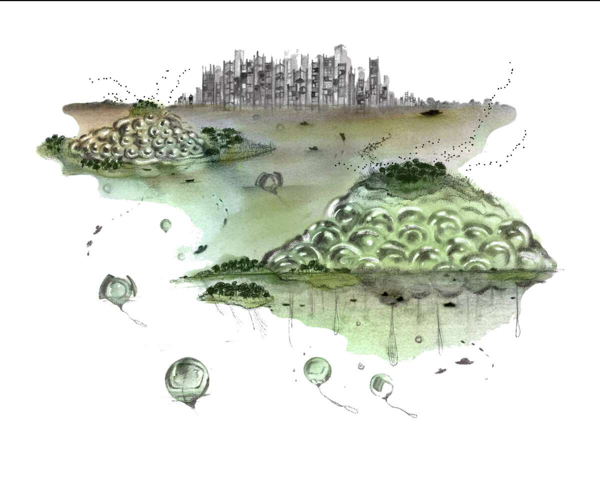 Ilse Harrison has created glimpses of a truly amphibious Houston, a future coastal city organized around aquaculture that is modular and floating. Its structures can stack themselves high in times of surging seas and then redistribute themselves in times of calm.