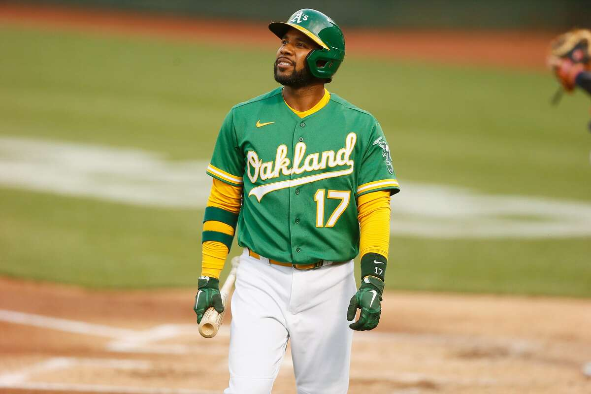 Oakland Athletics shortstop Elvis Andrus (17) after striking out in the second inning during the second game of an MLB doubleheader against the Minnesota Twins at RingCentral Coliseum on Tuesday, April 20, 2021, in Oakland, Calif.