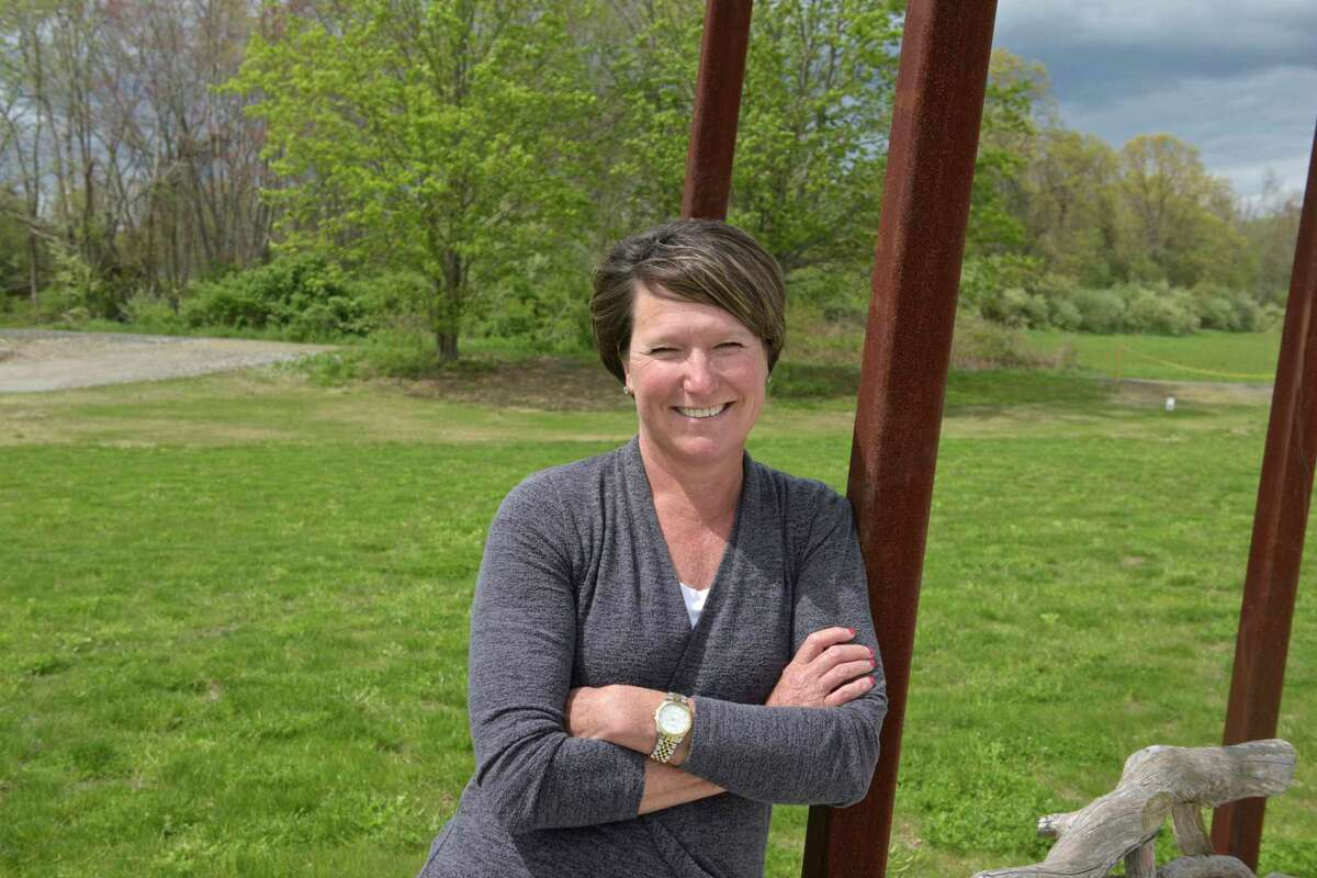 Jennifer Hubbard in the Catherine Violet Hubbard Animal Sanctuary. Hubbard has written a book,