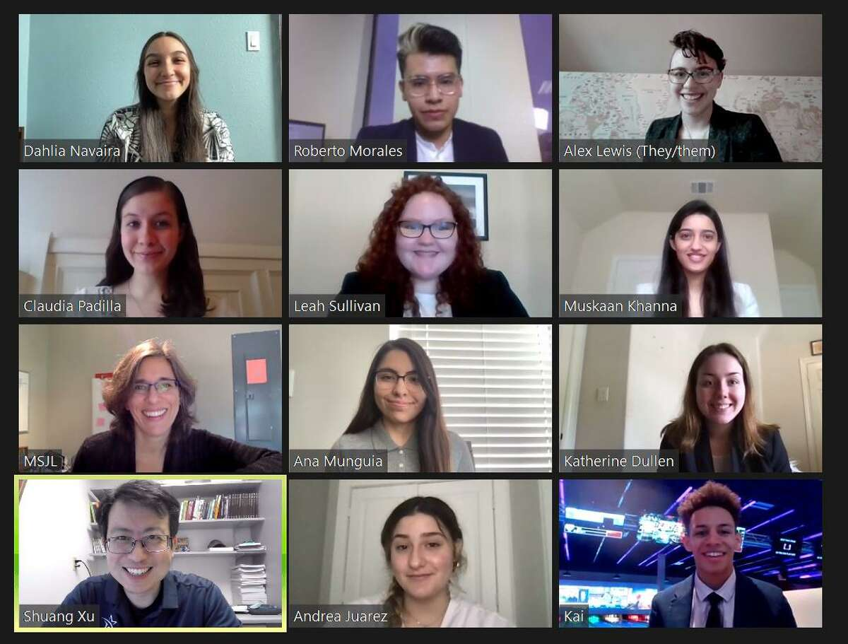 The LSC-Kingwood student delegation, pictured here on a virtual call, won the top award for this year's NY-National Model United Nation conference.
