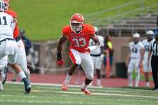Beaumont native Markel Perry looks to make a play during Sam Houston's first round playoff game against Monmouth.