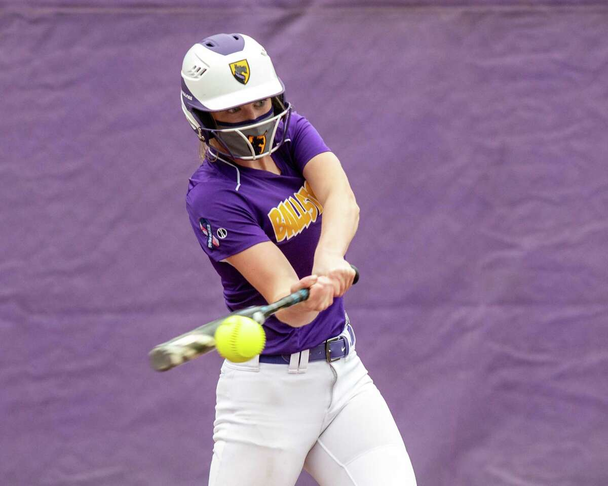 Ballston Spa batter Anna Pilkey rips a double during a Suburban Council matchup against Guilderland at Ballston Spa High School on Friday, May 7, 2021. (Jim Franco Special to the Times Union)