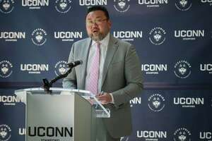 Terrence Cheng, director of the University of Connecticut Stamford campus, as he announces the installation of AT&T 5G wireless technology at the Stamford campus. Cheng, an only child of Taiwanese immigrants, was appointed Friday, May 7, 2021, as the next president of the Connecticut State Colleges and Universities system.