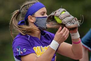 Ballston Spa shortstop Ana Gold catches a flyball during a Suburban Council matchup against Guilderland at Ballston Spa High School on Friday, May 7, 2021. (Jim Franco Special to the Times Union)