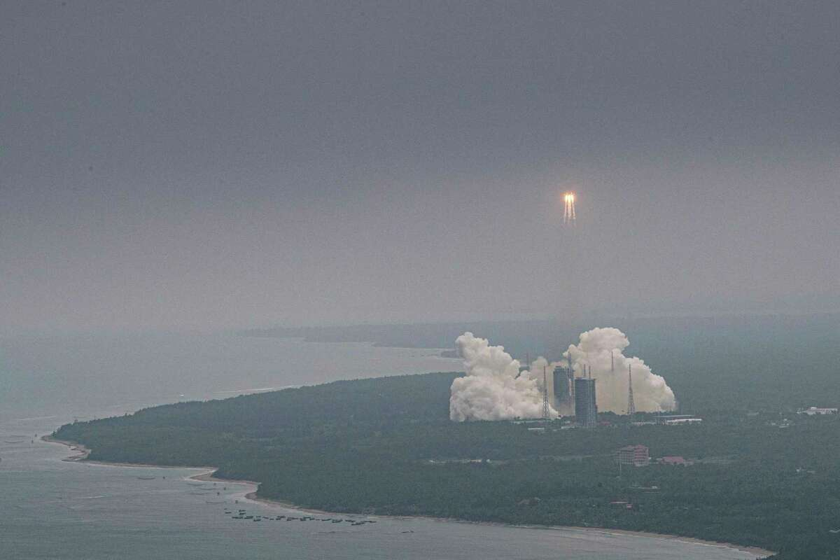 The Long March CZ-5B lifts off April 29 from the Wenchang Space Launch Center in the Hainan province of southern China.