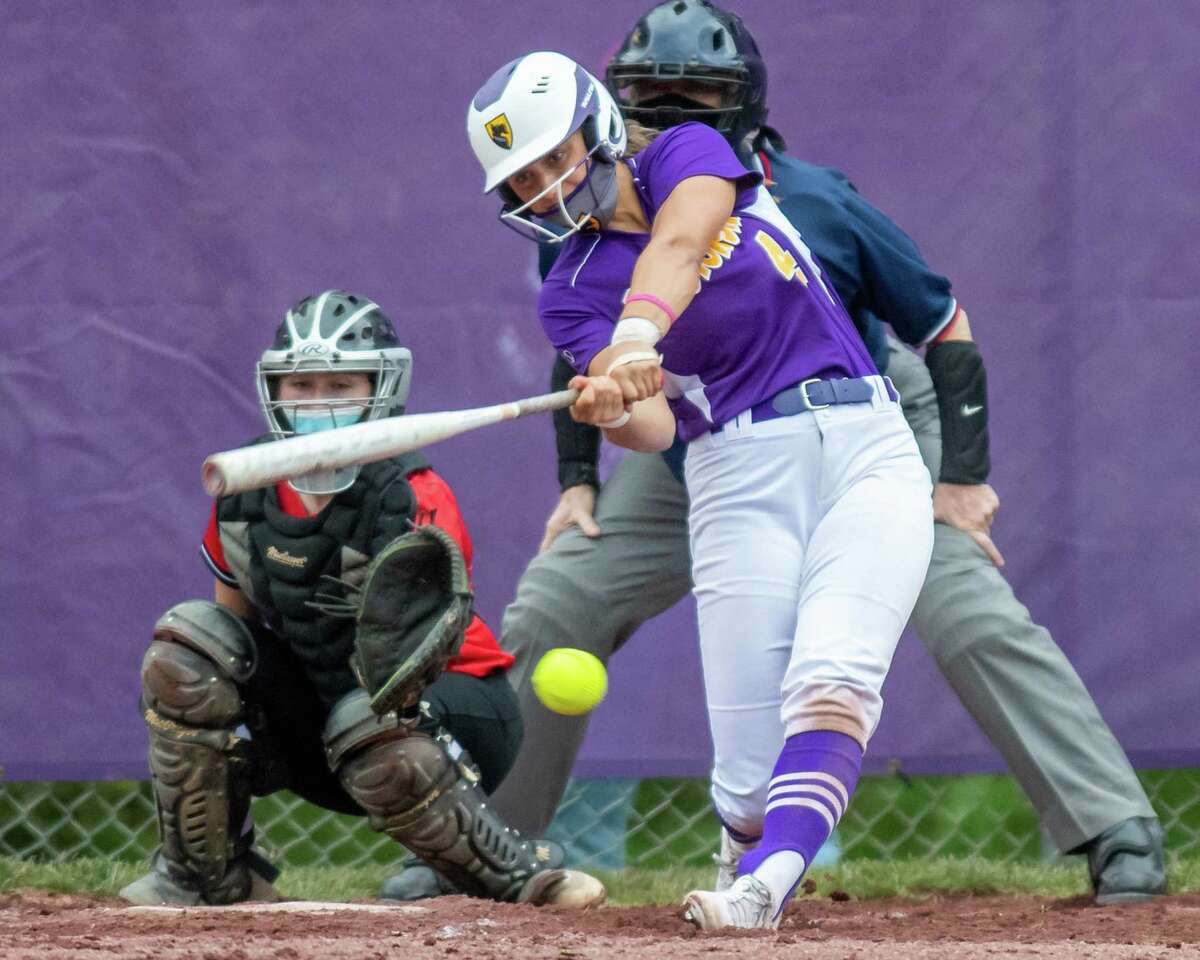 Ballston Spa shortstop Ana Gold rips a base hit during a Suburban Council matchup against Guilderland at Ballston Spa High School on Friday, May 7, 2021. (Jim Franco Special to the Times Union)