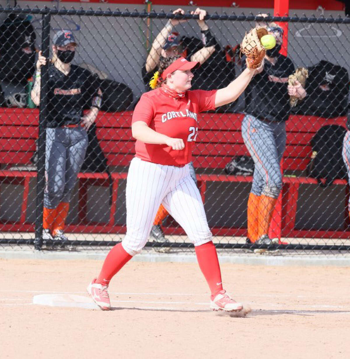 Colonie High graduate Lexi Szesnat plays first base for Cortland.