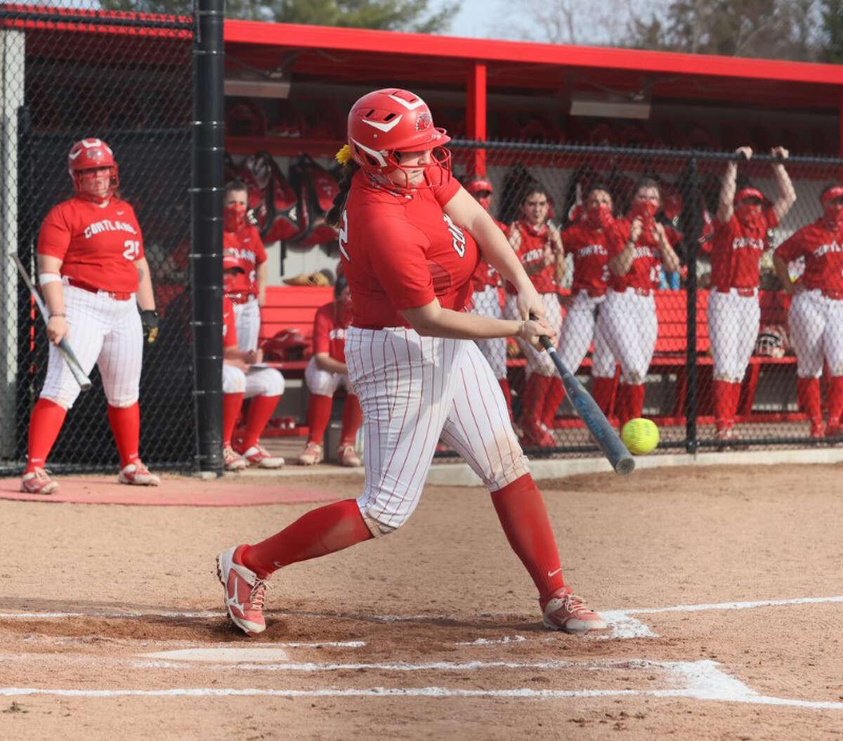 Colonie High graduate Lexi Szesnat takes a swing for Cortland.
