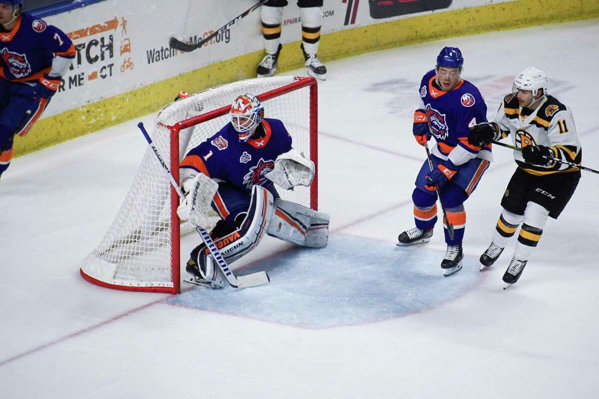 Bridgeport Sound Tigers' goalie Cory Schneider (1) defends the net against the Providence Bruins during an AHL hockey game on March 31, 2021 at Webster Bank Arena in Bridgeport, Conn.