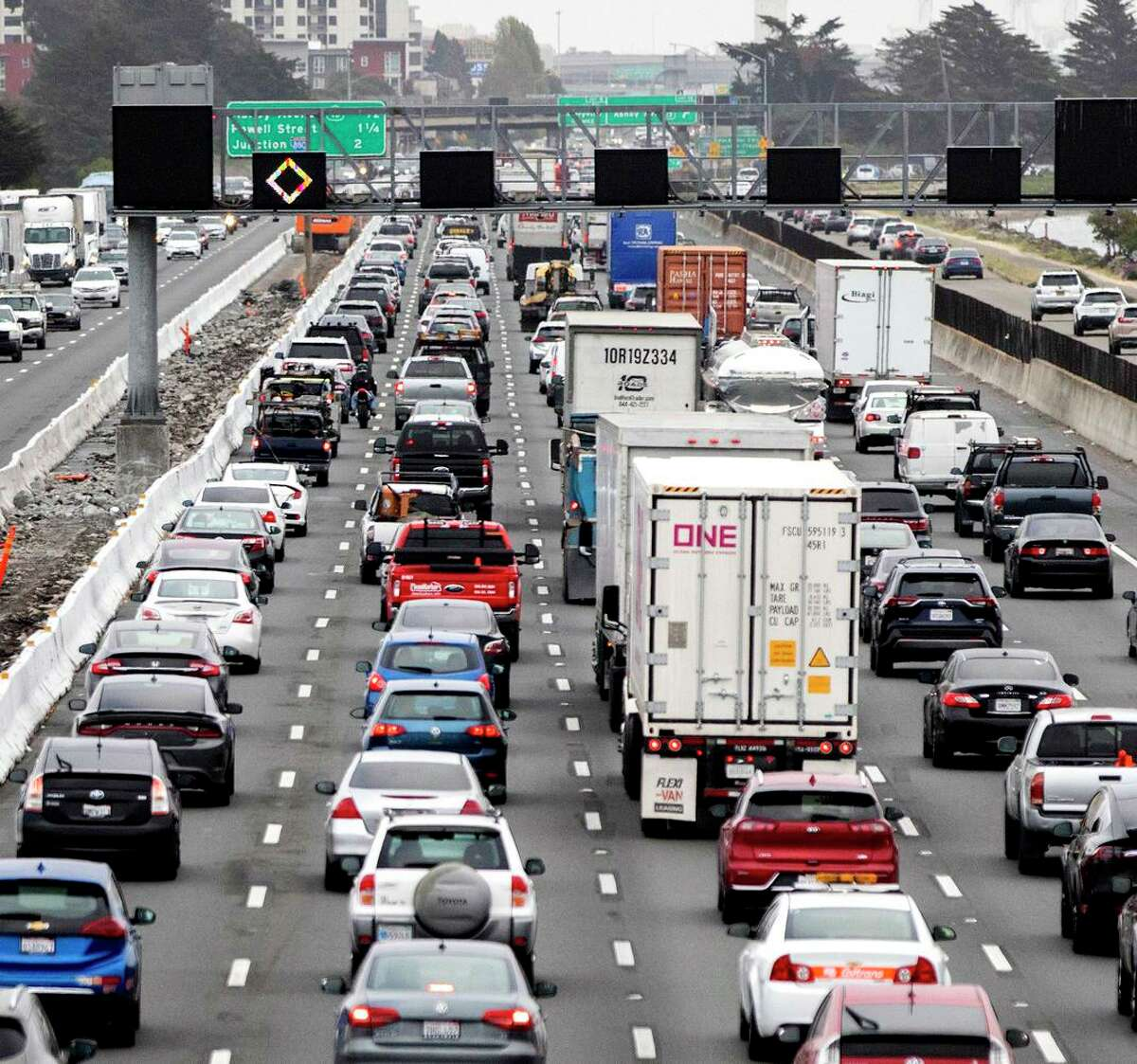 Morning commuter traffic backs up on Interstate 80 westbound in Berkeley on April 6. A year after the pandemic caused traffic across the bay to drop by 50%, it's nearly back to pre-pandemic normal.