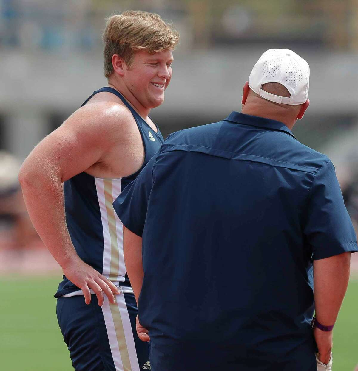 Chance Niesner of Lake Creek laughs during a break in the boys discus during the Class 5A UIL Track and Field Championships at Mike A. Myers Stadium, Friday, May 7, 2021, in Austin.