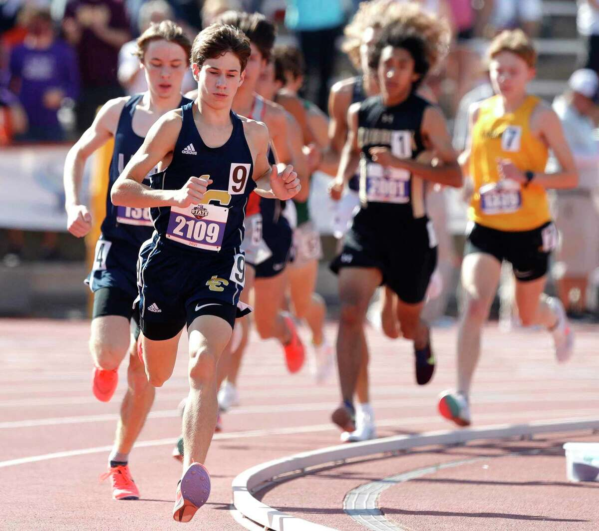 Carter Gordy of Lake Creek competes in the boys 3,200-meter run during the Class 5A UIL Track and Field Championships at Mike A. Myers Stadium, Friday, May 7, 2021, in Austin.