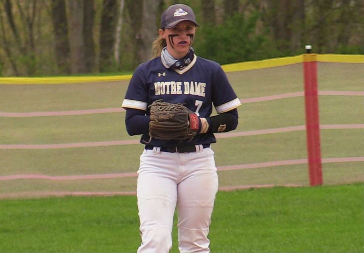 Notre Dame of Fairfield's MacQuarrie Stone-Folmar plays against Masuk during a softball game on Monday, May 3, 2021 in Fairfield, Conn.