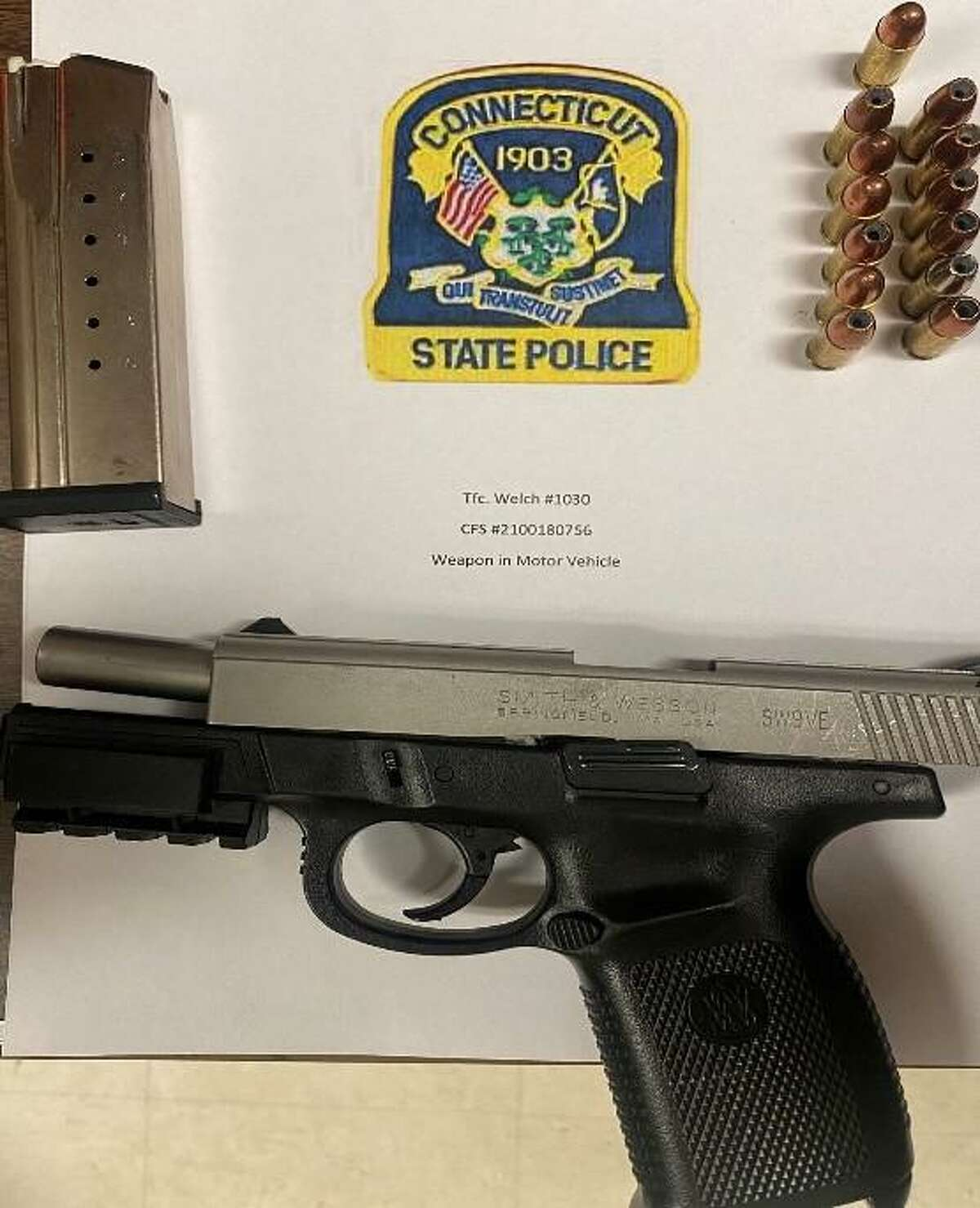 State police said they found this handgun during a search of a motor vehicle on I-91 in Hartford Thursday, May 6, 2021.