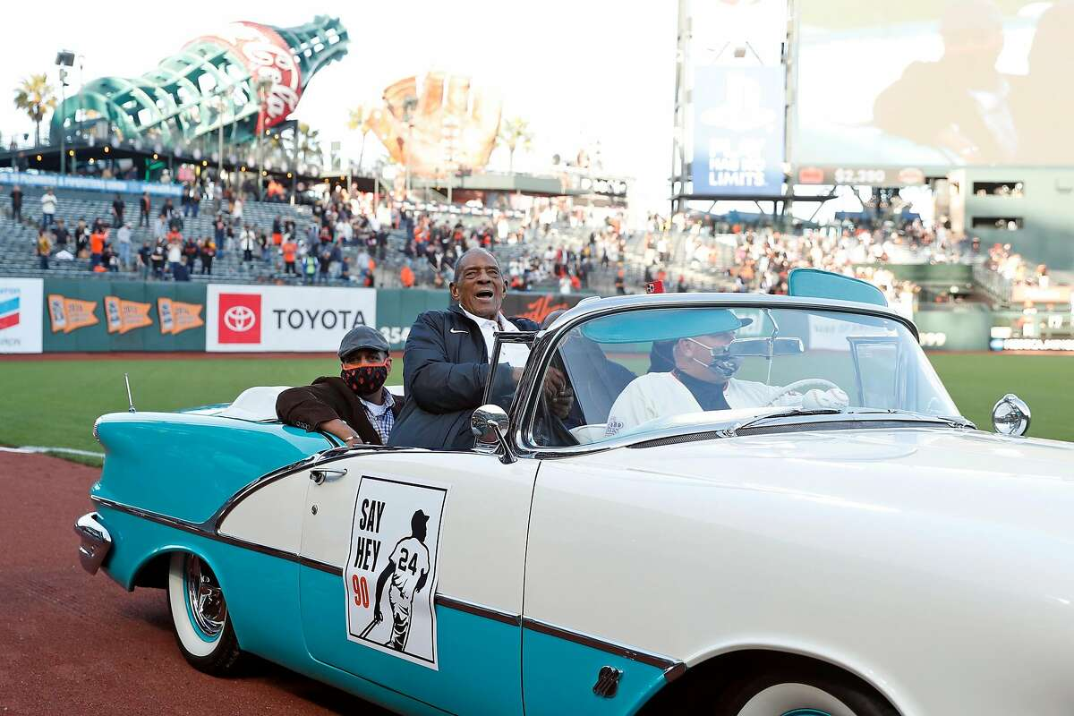 Baseball Hall of Famer Willie Mays rides in a convertible as the Giants celebrate his 90th birthday Friday at Oracle Park.